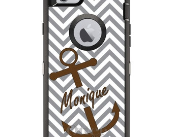 CUSTOM OtterBox Defender Case for Apple iPhone 6 6S 7 8 PLUS X 10 - Personalized Monogram - Gray White Chevron Brown Anchor