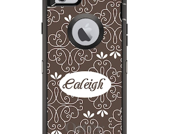 CUSTOM OtterBox Defender Case for Apple iPhone 6 6S 7 8 PLUS X 10 - Personalized Monogram - Brown White Floral Name
