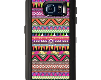Custom OtterBox Defender for Galaxy S5 S6 S7 S8 S8+ Note 5 8 Any Color / Font - Pink Blue Orange Tribal Print