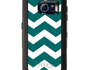 Custom OtterBox Defender for Galaxy S5 S6 S7 S8 S8+ Note 5 8 Any Color / Font - Teal White Chevron Stripes