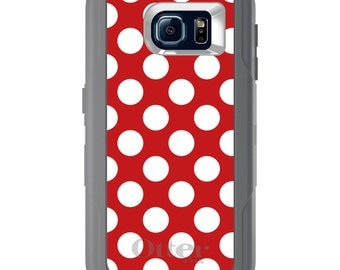 Custom OtterBox Defender for Galaxy S5 S6 S7 S8 S8+ Note 5 8 Any Color / Font - White Red Polka Dots