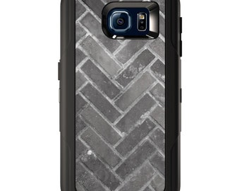 Custom OtterBox Defender for Galaxy S5 S6 S7 S8 S8+ Note 5 8 Any Color / Font - Herringbone Brick Floor