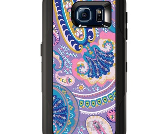 Custom OtterBox Defender for Galaxy S5 S6 S7 S8 S8+ Note 5 8 Any Color / Font - Purple Pink Blue Paisley
