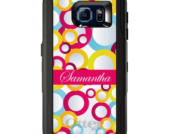 Custom OtterBox Defender for Galaxy S5 S6 S7 S8 S8+ Note 5 8 Any Color / Font - Pink Blue Yellow Bubbles