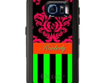 Custom OtterBox Defender for Galaxy S5 S6 S7 S8 S8+ Note 5 8 Any Color / Font - Black Pink Green Stripes