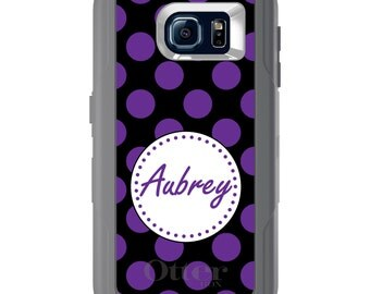 Custom OtterBox Defender for Galaxy S5 S6 S7 S8 S8+ Note 5 8 Any Color / Font - Purple Black White Polka Dot