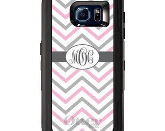 Custom OtterBox Defender for Galaxy S5 S6 S7 S8 S8+ Note 5 8 Any Color / Font - Pink White Grey Chevron Stripes