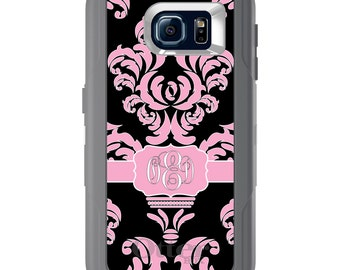 Custom OtterBox Defender for Galaxy S5 S6 S7 S8 S8+ Note 5 8 Any Color / Font - Pink Black White Damask Ribbon