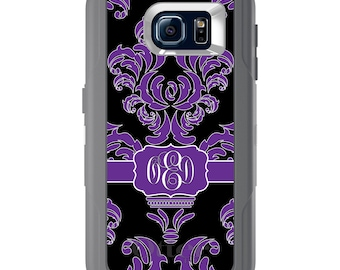 Custom OtterBox Defender for Galaxy S5 S6 S7 S8 S8+ Note 5 8 Any Color / Font - Purple Black White Damask Ribbon
