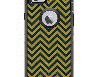 Custom OtterBox Defender Case for Apple iPhone 6 6S 7 8 PLUS X 10 - Monogram - Notre Dame ND Fighting Irish Colors - Chevron Pattern
