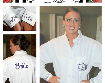 Bride Wedding Shirt Pocket Monogram Oxford with Back, and 2 Cuff Embroidery Bride Wedding Shirt Plus Size