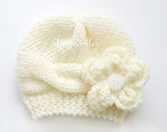 Knit Baby Girl Hat, Cable Knit Baby Hat, Removable Flower, Cream Knit Baby Girl Hat, Cream Knit Cable Baby Beanie, Newborn Cable Hat, Hats