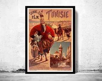 Vintage Poster of Tunisie Tunisia  1891 Tourism poster travel