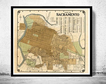 Old map Sacramento California 1920