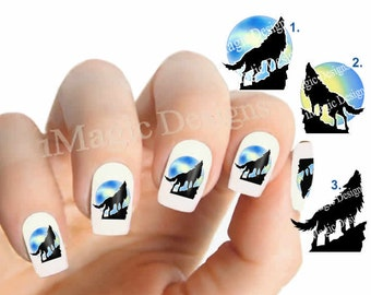 Waterslide Nail Decals, Nail Stickers, Howling Wolf