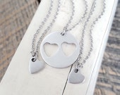 Mother daughter necklace set  stamped jewelry mother and two daughters gift for mom mothers gift