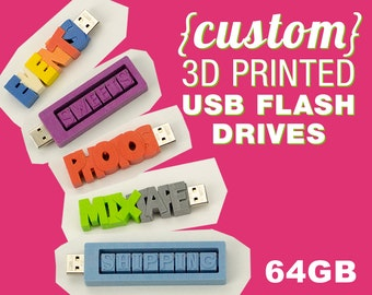 64GB Custom USB Flash Drive - 3D Printed