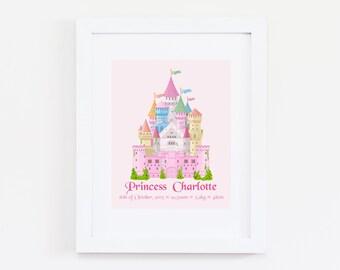 Personalised Castle Princess Name Birth Nursery Printable Wall Art Print