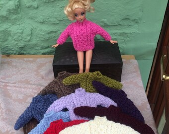 Sindy / Barbie 2 x hand knitted aran-type jumpers - various colours made to order