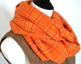 Bright Orange Yellow Plaid Flannel Infinity Scarf. Fall scarf for men and women.