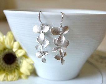 Matte Silver Cascading Triple Orchid Dangle Earrings. Silver Orchid Earrings. Long Orchid Earrings. Bridal Earrings. Bridesmaid Earrings.
