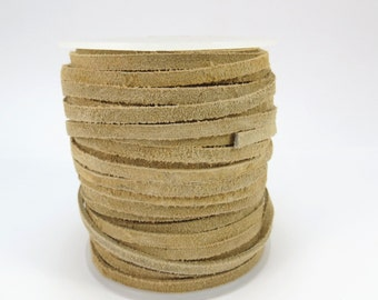 Suede Leather Lace Cord, Beige 3-4mm Lace Cord, 4 Yards Suede Lace Cord, Leather Cord, Item 617ct