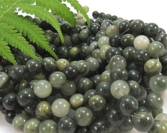 Green Line Jasper Beads, Natural Multi-Colored Jasper, 8mm Round, 16 inch Strand, 8mm Green Beads, Beading Supplies, Item 623pm