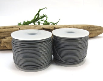 Grey Leather Cord, 1mm Gray Leather Cord, 25 Yard Spool, Colored Leather Cord, Leather Necklace Cord, Item 641c