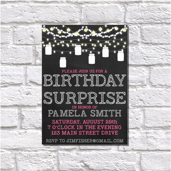Printable Invitation, Birthday Surprise, Summer Party