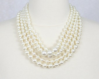 Multi Strand Pearl Necklace Chunky Pearl Statement Necklace Layered Pearl Necklace Ivory White Necklace