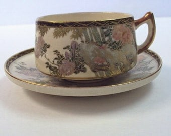 Japanese Satsuma Cup and Saucer