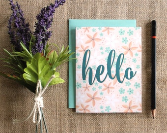 "Floral ""hello"" greeting card / blank inside"