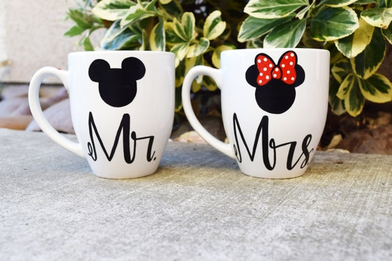 Personalized Disney Wedding Gifts: Coffee Mugs Set Of 2 Mr. And Mrs. His And Hers Mickey And
