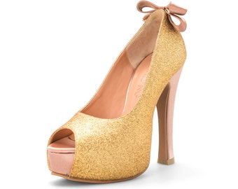 Gold Dust, Custom Made Glitter Wedding Shoes, Gold Sparkling Bridal Heels, Gold Wedding Heels, Bridal Shoes