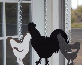 chicken,wind chime,Kit DIY,chicken coop decor,coop decor,chicken silhouette,roosters, farm decor,rooster wind chime,made in USA,Route 66,hen