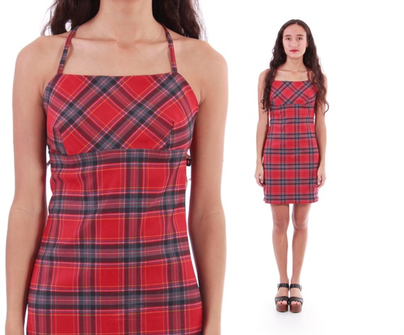 90s Red Plaid Dress Short Fitted Stretchy Grunge Goth Hipster