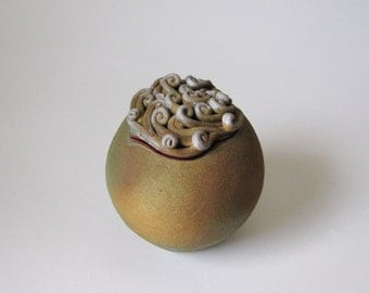 Moss green ceramic lidded vessel / earthenware lidded jar / clay container