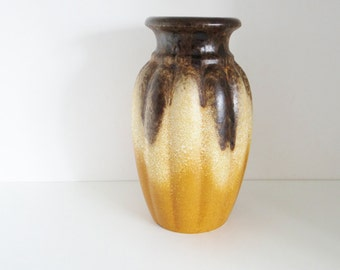 Vintage Scheurich Keramik Vase Pot Brasil Series Browns Tans Circa 1970s 292-28