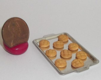 Miniature Dollhouse Baked Peanut Butter Cookies on cookie sheet 1/12 #7272