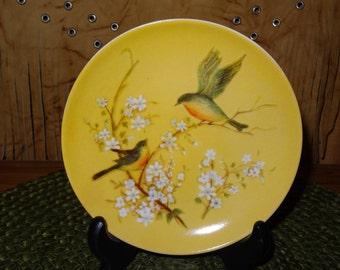Set of 3 Decorative Wall Plates / Bird Wall Plates / Yellow Wall Plates / Wall Decor / Wall Bird Plates / Decorative Bird Plates