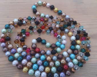 Vintage glass bead and pearl flapper style necklace multicoloured