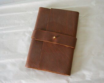 OIled Leather Journal with unique flap and stud closure