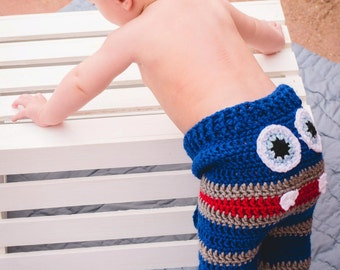 Crochet Monster Pants/6-12 months/Ready to Ship