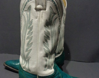 Justin Green White Lizard Skin Cowboy Boot Women's Size 6