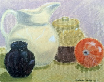 "Still Life in Earth Tones - giclee print of original pastel painting 10"" x 8"""