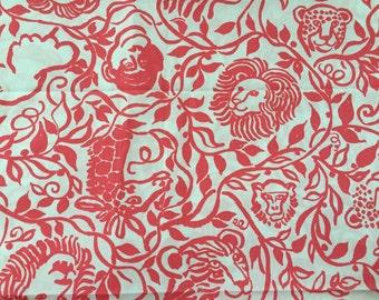 Vintage Lilly Pulitzer fabric in Wild by Zuzek Key West Hand Print Fabrics Inc (jungle animals, lions, giraffes, monkeys, elephants, coral)
