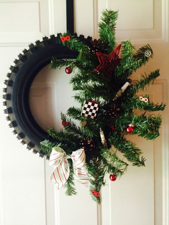 Dirtbike tire christmas wreath
