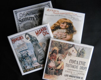 Vintage Medicine Ad Coasters ~ Vintage Ads ~ Ceramic Tile Coasters ~  Drink Coasters ~ Medicine Ads ~ Quirky Coasters ~ Fun Coasters