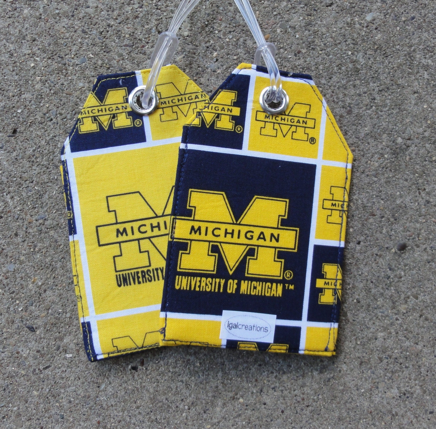 Badge Holder Luggage Tags made from University of Michigan