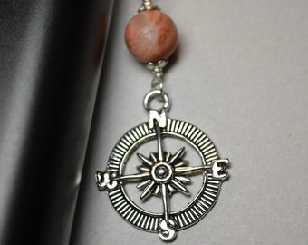 Ecigarette Charm Compass Charm and Natural Royal Imperial Jasper Gemstone Vaporizer Accessories The Traveler